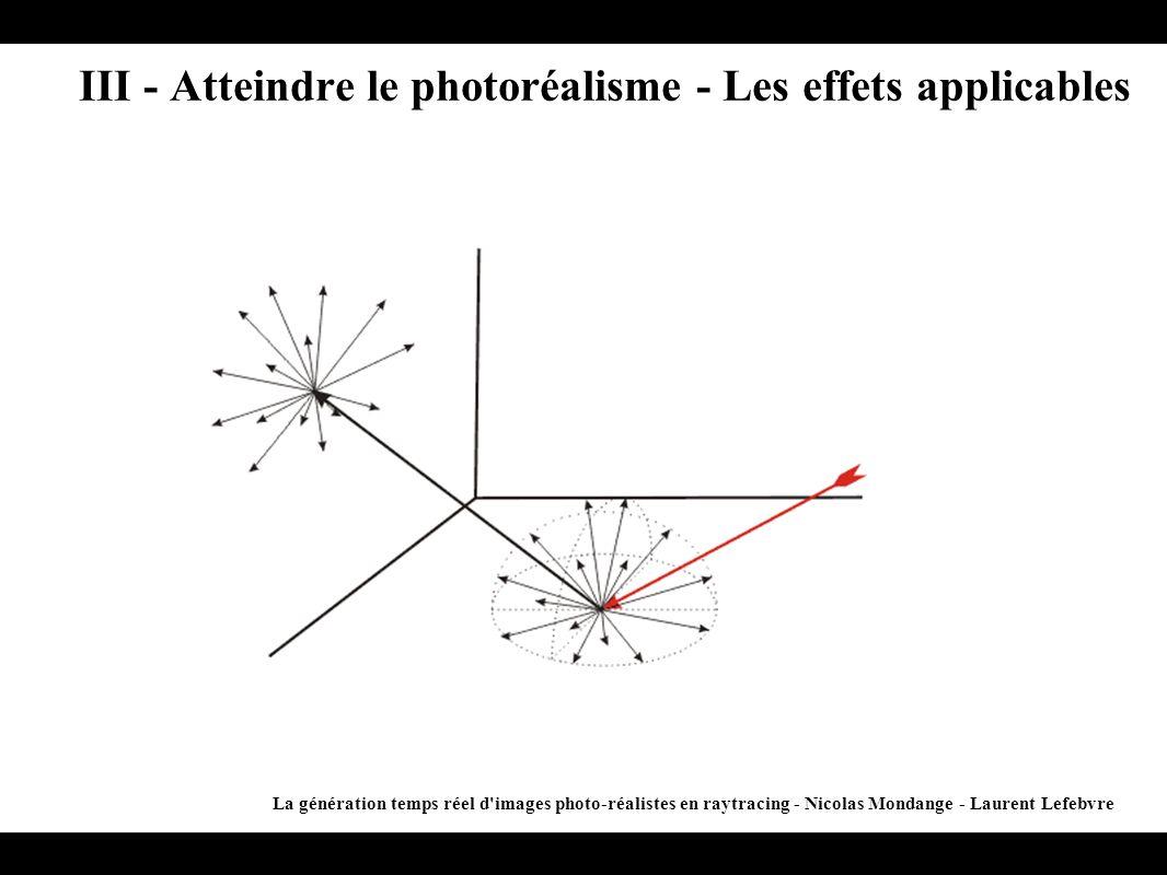 III - Atteindre le photoréalisme - Les effets applicables