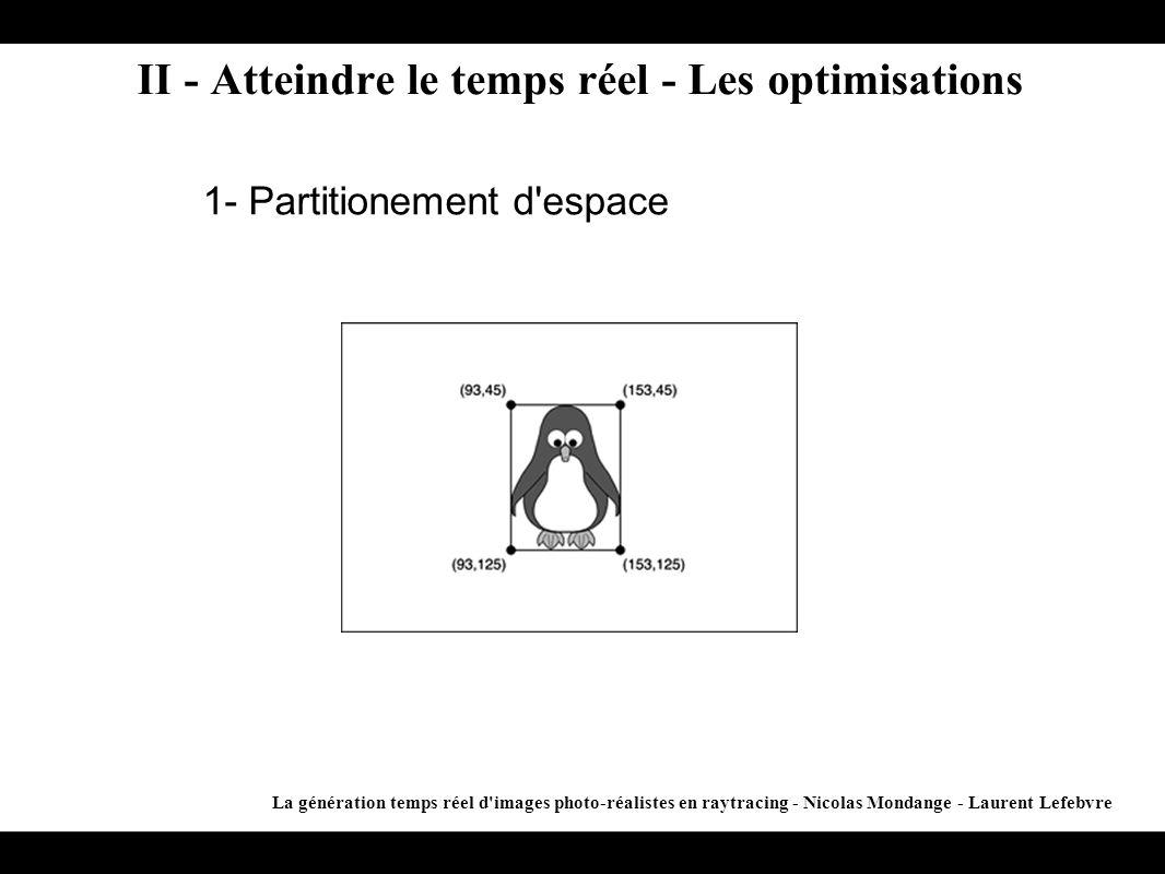 II - Atteindre le temps réel - Les optimisations La génération temps réel d'images photo-réalistes en raytracing - Nicolas Mondange - Laurent Lefebvre