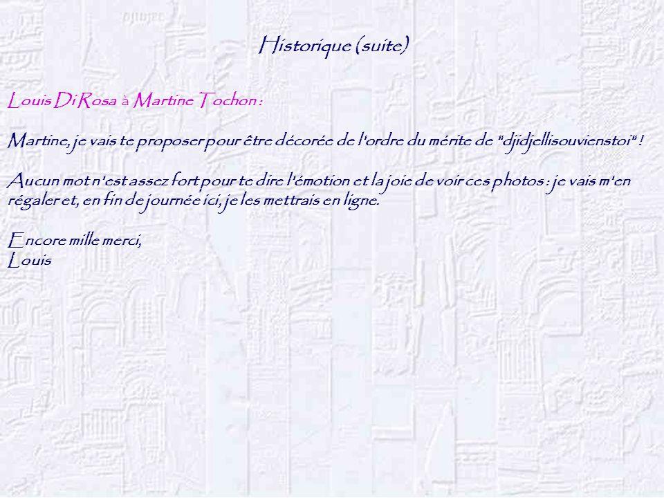 Historique (suite) Louis Di Rosa à Martine Tochon : Martine, je vais te proposer pour être décorée de l'ordre du mérite de