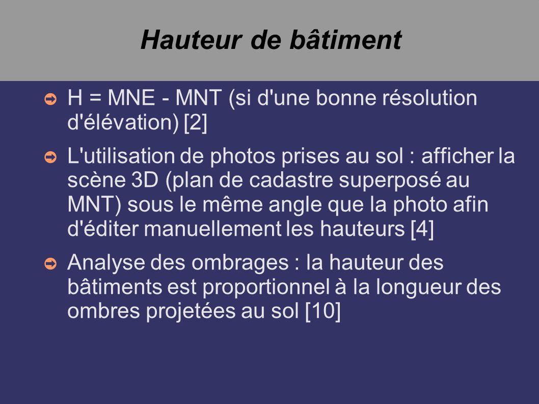 Hauteur de bâtiment H = MNE - MNT (si d'une bonne résolution d'élévation) [2] L'utilisation de photos prises au sol : afficher la scène 3D (plan de ca