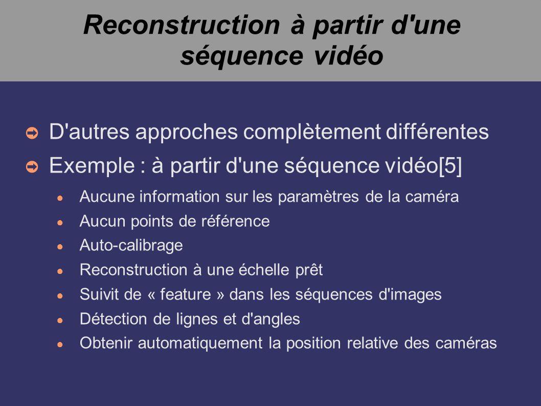 Reconstruction à partir d'une séquence vidéo D'autres approches complètement différentes Exemple : à partir d'une séquence vidéo[5] Aucune information