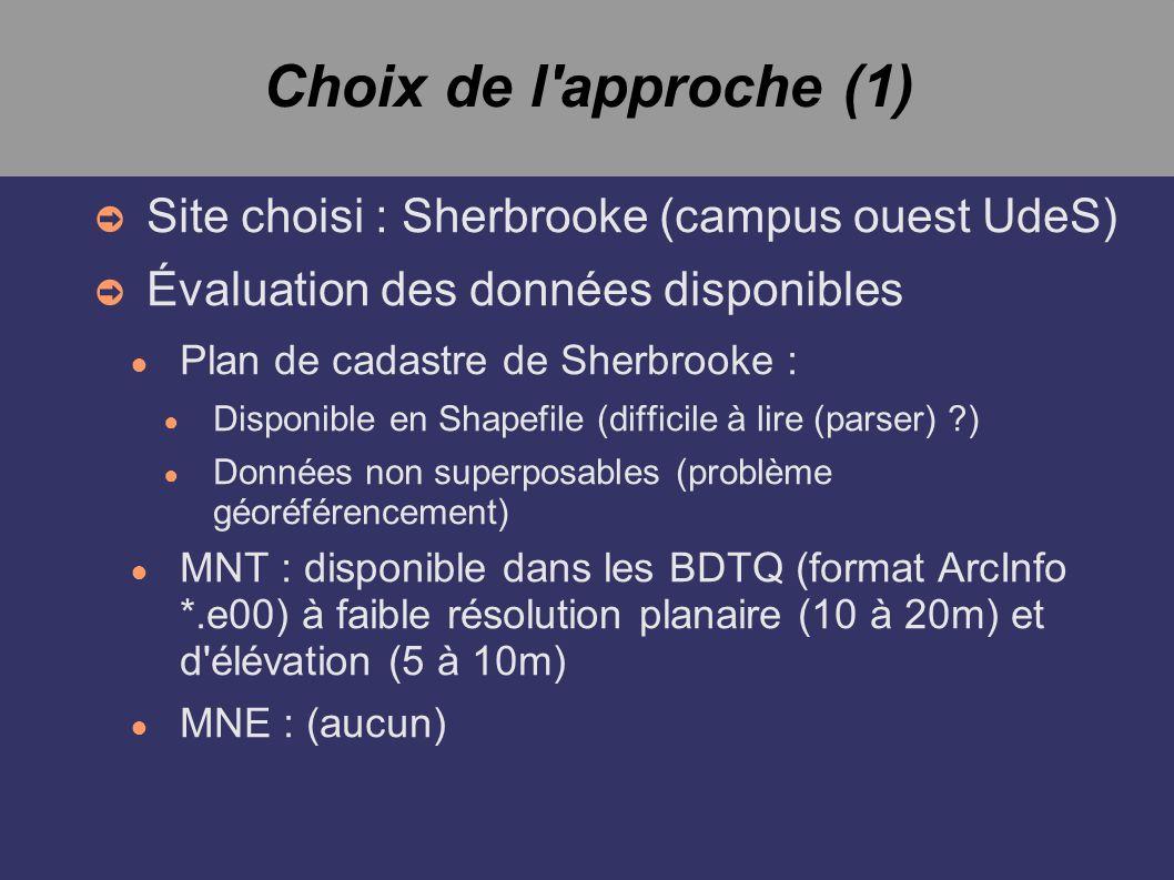 Choix de l approche (1) Site choisi : Sherbrooke (campus ouest UdeS) Évaluation des données disponibles Plan de cadastre de Sherbrooke : Disponible en Shapefile (difficile à lire (parser) ?) Données non superposables (problème géoréférencement) MNT : disponible dans les BDTQ (format ArcInfo *.e00) à faible résolution planaire (10 à 20m) et d élévation (5 à 10m) MNE : (aucun)