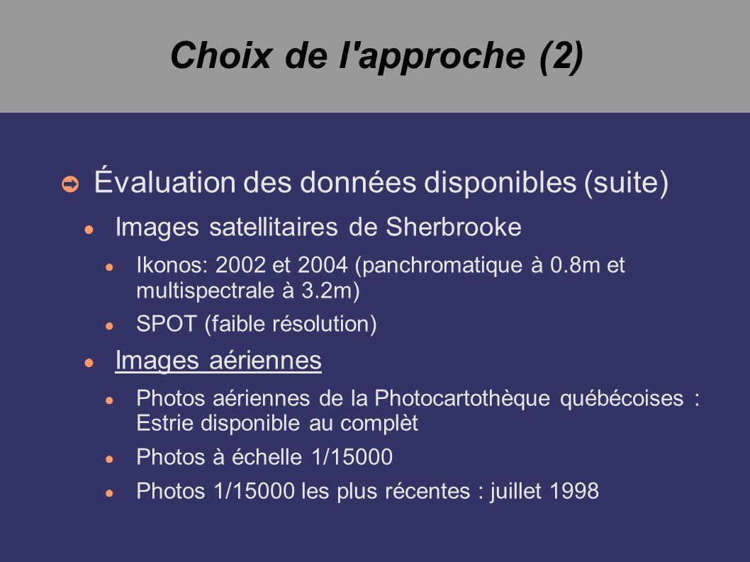 Choix de l approche (2) Évaluation des données disponibles (suite) Images satellitaires de Sherbrooke Ikonos: 2002 et 2004 (panchromatique à 0.8m et multispectrale à 3.2m) SPOT (faible résolution) Images aériennes Photos aériennes de la Photocartothèque québécoises : Estrie disponible au complèt Photos à échelle 1/15000 Photos 1/15000 les plus récentes : juillet 1998