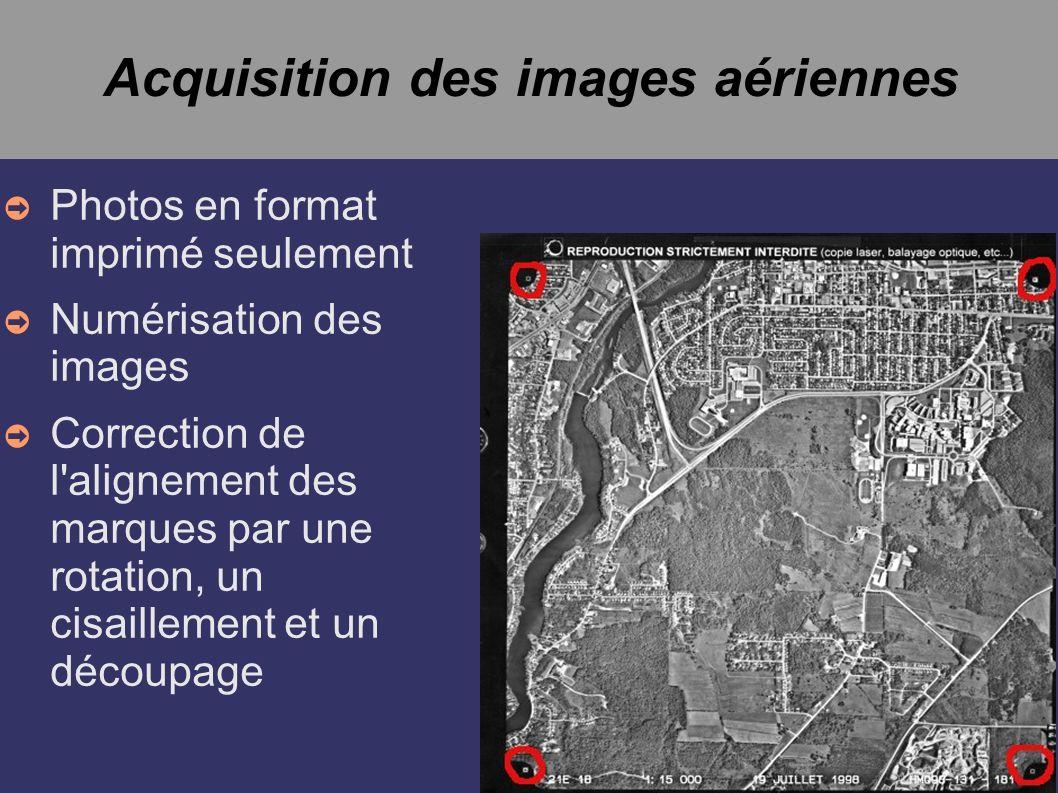Acquisition des images aériennes Photos en format imprimé seulement Numérisation des images Correction de l'alignement des marques par une rotation, u