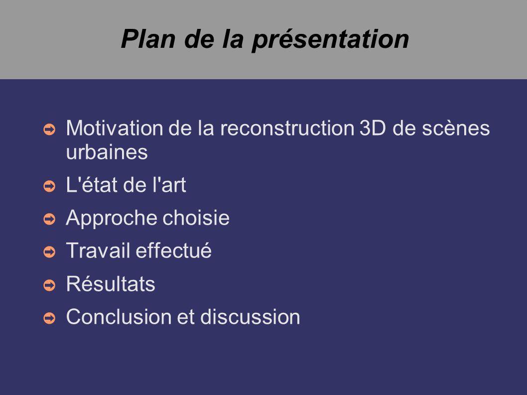 Plan de la présentation Motivation de la reconstruction 3D de scènes urbaines L'état de l'art Approche choisie Travail effectué Résultats Conclusion e