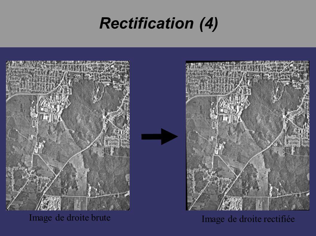Rectification (4) Image de droite brute Image de droite rectifiée