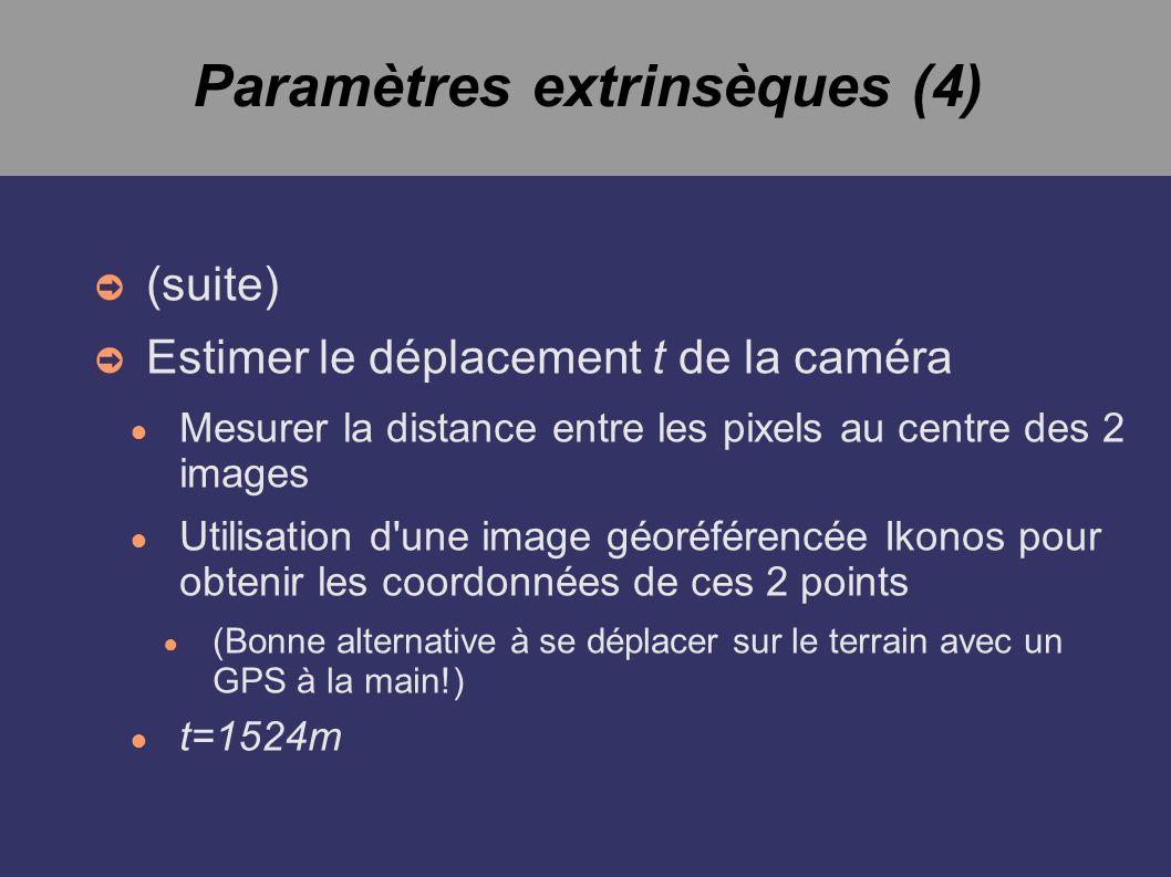 Paramètres extrinsèques (4) (suite) Estimer le déplacement t de la caméra Mesurer la distance entre les pixels au centre des 2 images Utilisation d une image géoréférencée Ikonos pour obtenir les coordonnées de ces 2 points (Bonne alternative à se déplacer sur le terrain avec un GPS à la main!) t=1524m