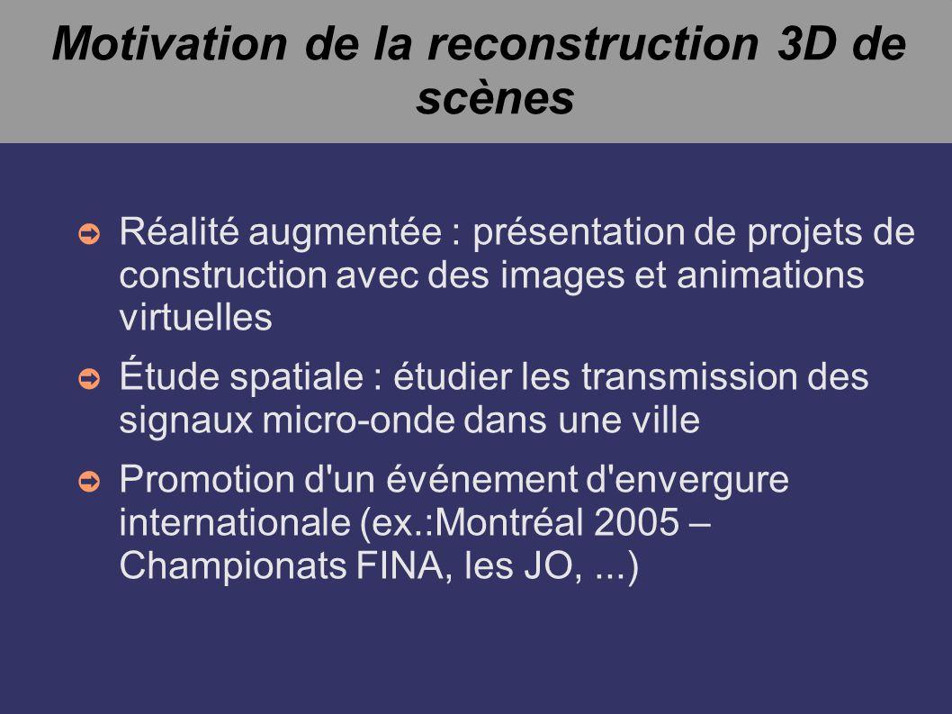 Reconstruction à partir d une séquence vidéo D autres approches complètement différentes Exemple : à partir d une séquence vidéo[5] Aucune information sur les paramètres de la caméra Aucun points de référence Auto-calibrage Reconstruction à une échelle prêt Suivit de « feature » dans les séquences d images Détection de lignes et d angles Obtenir automatiquement la position relative des caméras