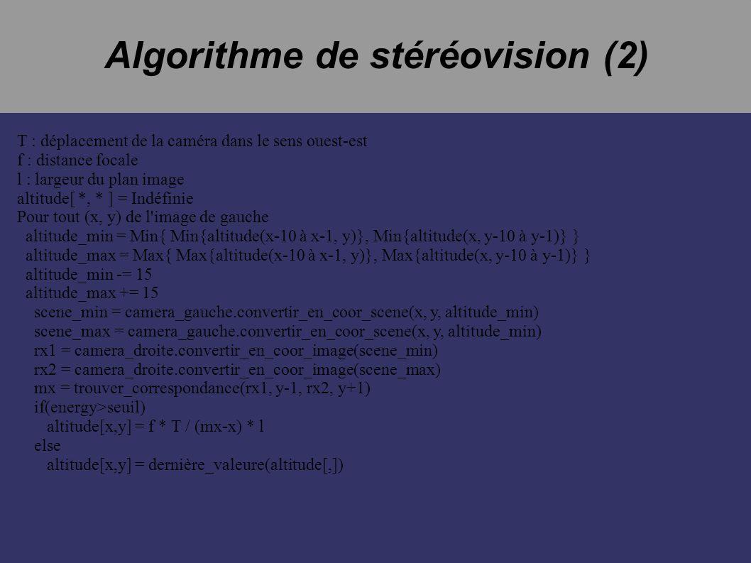 Algorithme de stéréovision (2) T : déplacement de la caméra dans le sens ouest-est f : distance focale l : largeur du plan image altitude[ *, * ] = Indéfinie Pour tout (x, y) de l image de gauche altitude_min = Min{ Min{altitude(x-10 à x-1, y)}, Min{altitude(x, y-10 à y-1)} } altitude_max = Max{ Max{altitude(x-10 à x-1, y)}, Max{altitude(x, y-10 à y-1)} } altitude_min -= 15 altitude_max += 15 scene_min = camera_gauche.convertir_en_coor_scene(x, y, altitude_min) scene_max = camera_gauche.convertir_en_coor_scene(x, y, altitude_min) rx1 = camera_droite.convertir_en_coor_image(scene_min) rx2 = camera_droite.convertir_en_coor_image(scene_max) mx = trouver_correspondance(rx1, y-1, rx2, y+1) if(energy>seuil) altitude[x,y] = f * T / (mx-x) * l else altitude[x,y] = dernière_valeure(altitude[,])