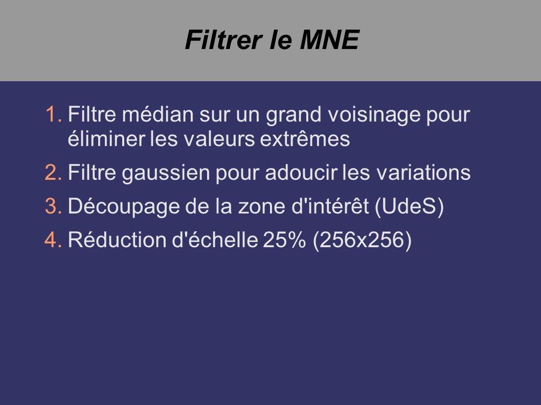 Filtrer le MNE 1.Filtre médian sur un grand voisinage pour éliminer les valeurs extrêmes 2.Filtre gaussien pour adoucir les variations 3.Découpage de la zone d intérêt (UdeS) 4.Réduction d échelle 25% (256x256)