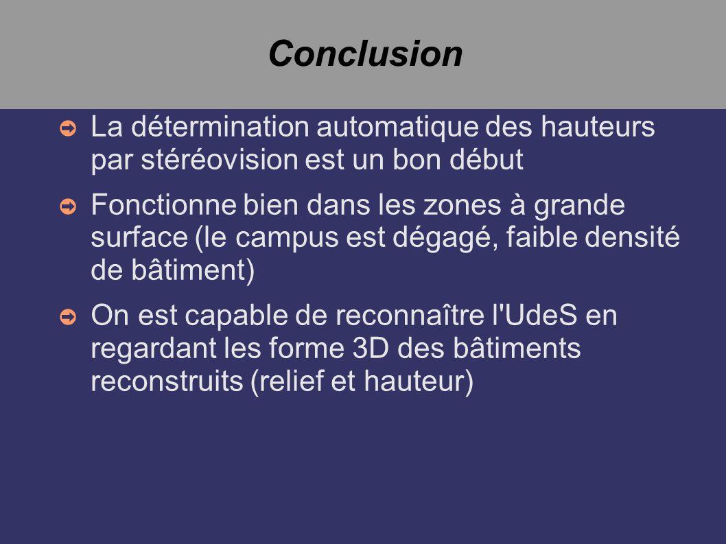 Conclusion La détermination automatique des hauteurs par stéréovision est un bon début Fonctionne bien dans les zones à grande surface (le campus est