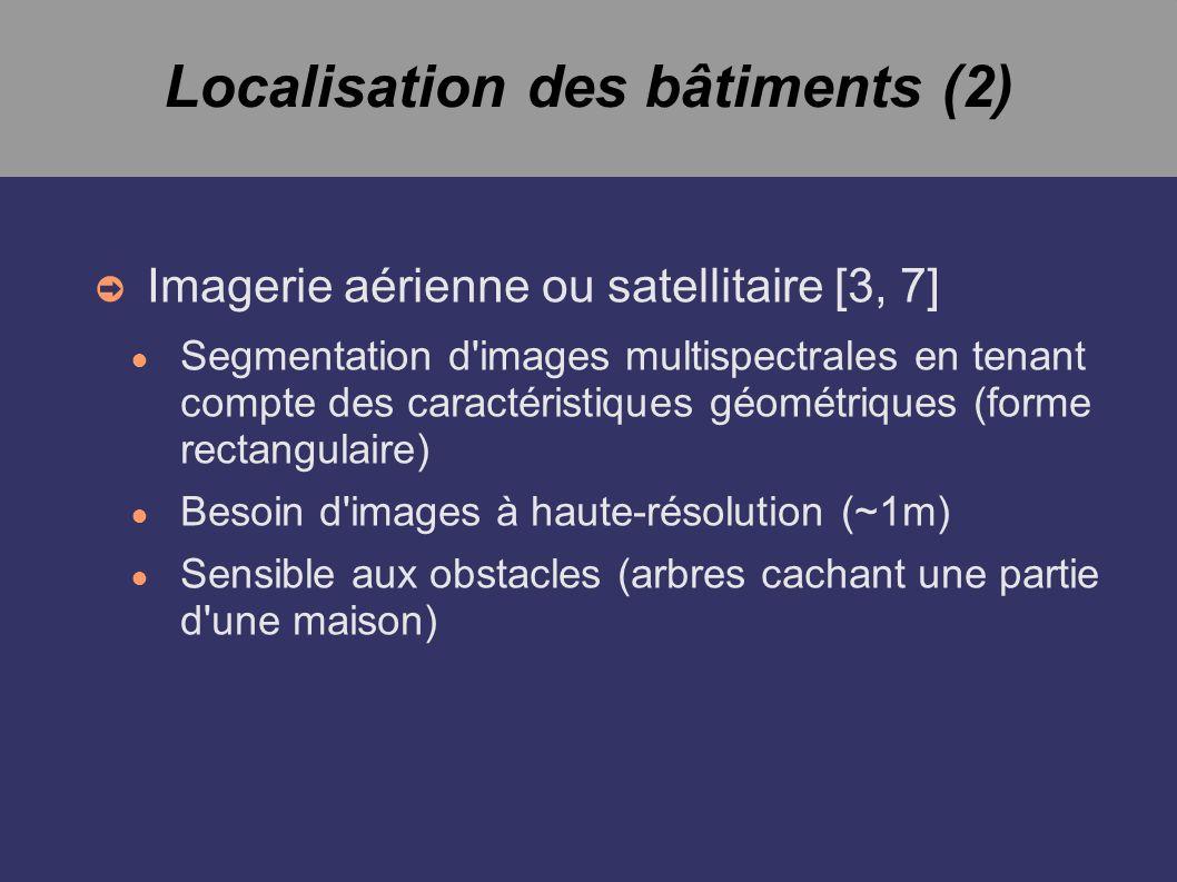 Localisation des bâtiments (2) Imagerie aérienne ou satellitaire [3, 7] Segmentation d images multispectrales en tenant compte des caractéristiques géométriques (forme rectangulaire) Besoin d images à haute-résolution (~1m) Sensible aux obstacles (arbres cachant une partie d une maison)