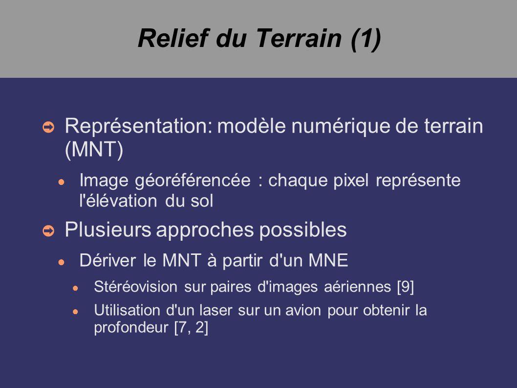 Relief du Terrain (1) Représentation: modèle numérique de terrain (MNT) Image géoréférencée : chaque pixel représente l'élévation du sol Plusieurs app