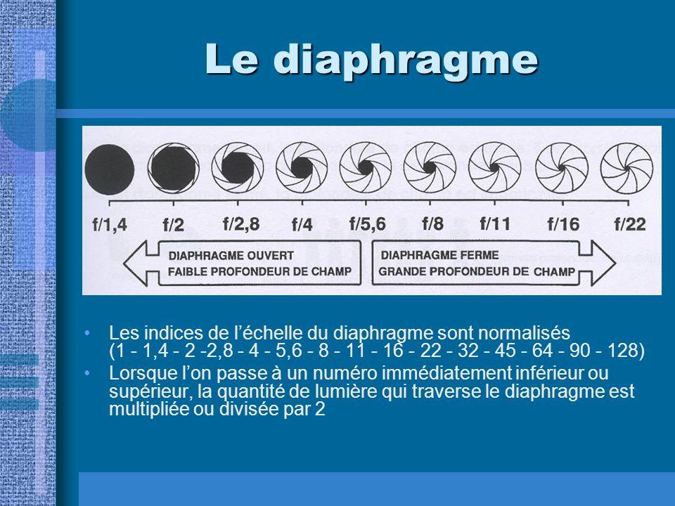 Le diaphragme Les indices de léchelle du diaphragme sont normalisés (1 - 1,4 - 2 -2,8 - 4 - 5,6 - 8 - 11 - 16 - 22 - 32 - 45 - 64 - 90 - 128) Lorsque lon passe à un numéro immédiatement inférieur ou supérieur, la quantité de lumière qui traverse le diaphragme est multipliée ou divisée par 2