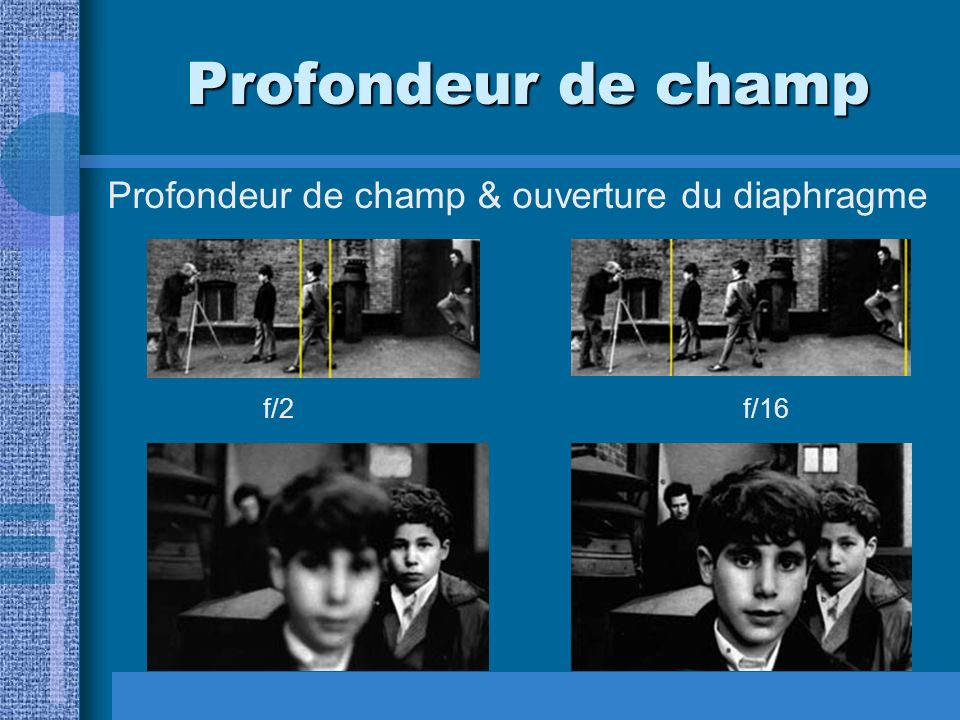 Profondeur de champ Profondeur de champ & ouverture du diaphragme f/2f/16