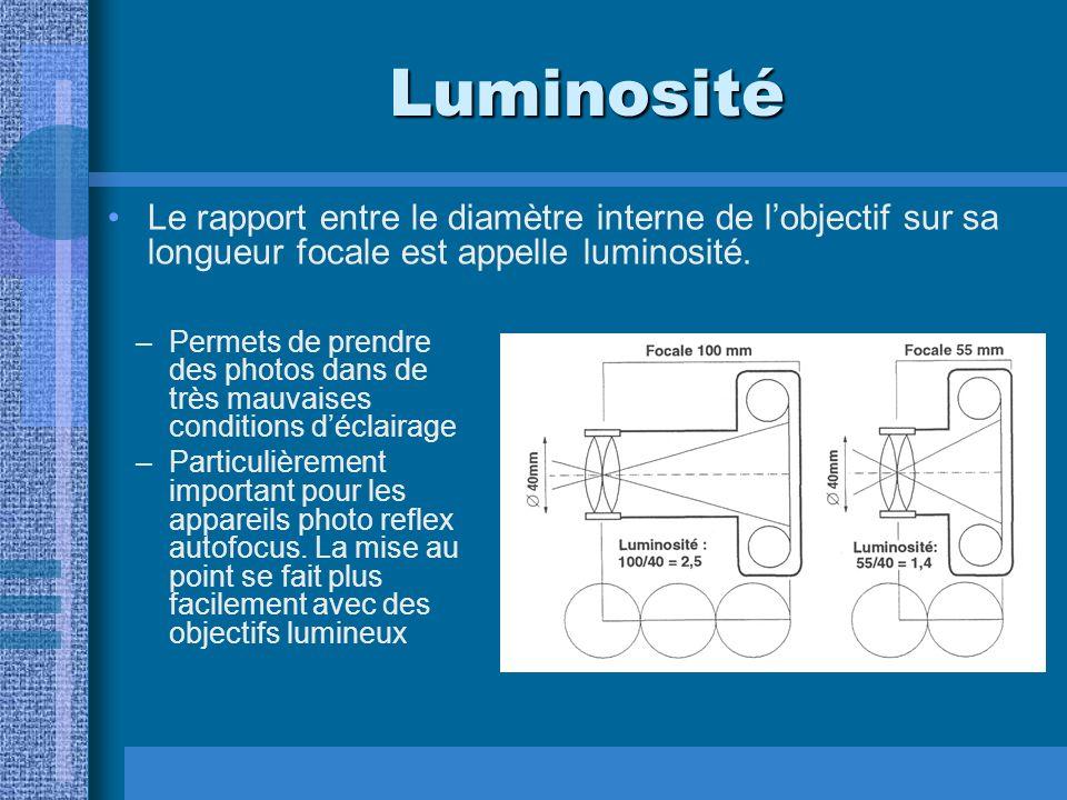 Luminosité –Permets de prendre des photos dans de très mauvaises conditions déclairage –Particulièrement important pour les appareils photo reflex autofocus.