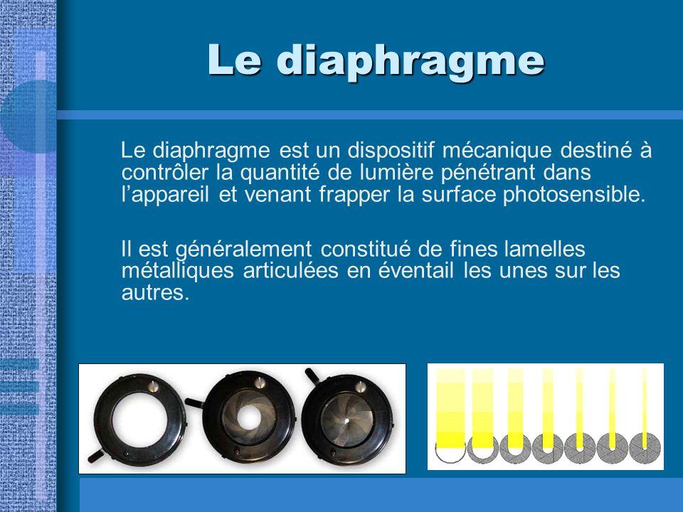 Le diaphragme Le diaphragme est un dispositif mécanique destiné à contrôler la quantité de lumière pénétrant dans lappareil et venant frapper la surface photosensible.