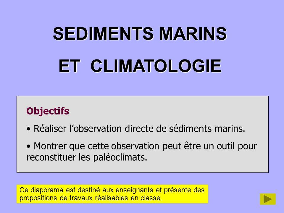 SEDIMENTS MARINS ET CLIMATOLOGIE Objectifs Réaliser lobservation directe de sédiments marins. Montrer que cette observation peut être un outil pour re