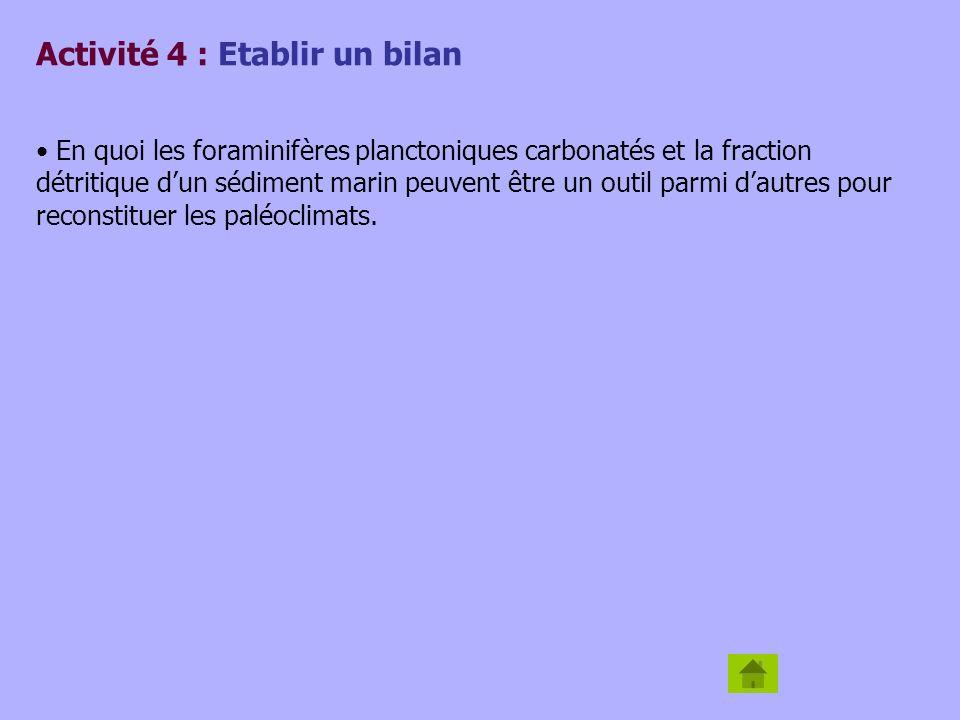 Activité 4 : Etablir un bilan En quoi les foraminifères planctoniques carbonatés et la fraction détritique dun sédiment marin peuvent être un outil pa