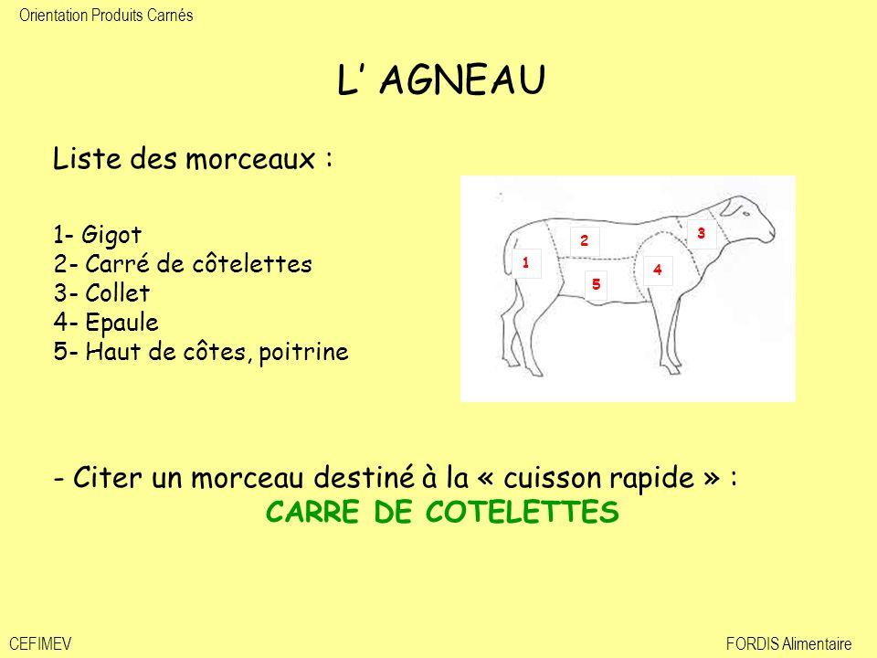 Orientation Produits Carnés CEFIMEVFORDIS Alimentaire L AGNEAU Liste des morceaux : 1- Gigot 2- Carré de côtelettes 3- Collet 4- Epaule 5- Haut de côt