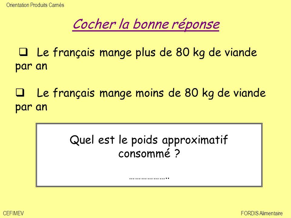 Orientation Produits Carnés CEFIMEVFORDIS Alimentaire Cochez la bonne réponse Le français mange plus de 80 kg de viande par an Le français mange moins de 80 kg de viande par an Quel est le poids approximatif consommé .
