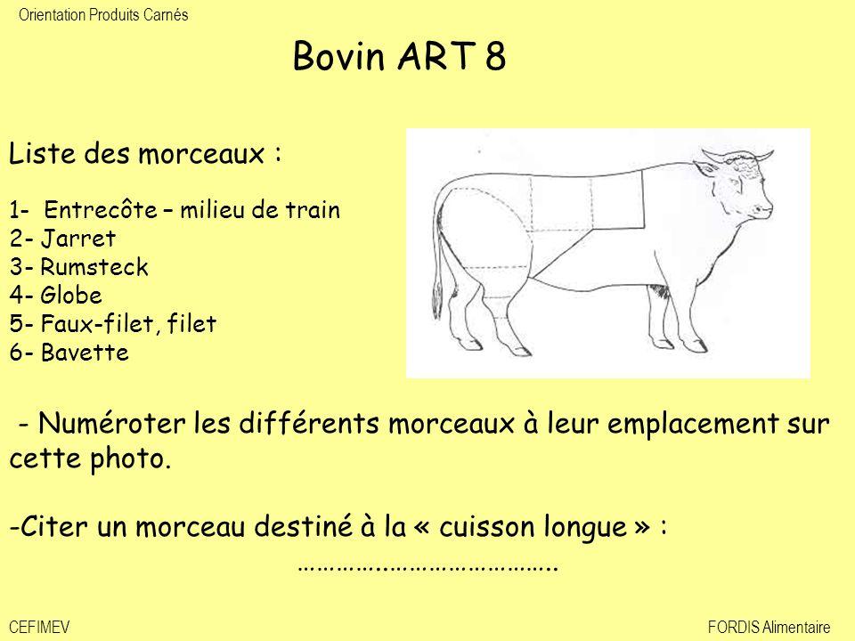 Orientation Produits Carnés CEFIMEVFORDIS Alimentaire Bovin ART 8 Liste des morceaux : 1- Entrecôte – milieu de train 2- Jarret 3- Rumsteck 4- Globe 5