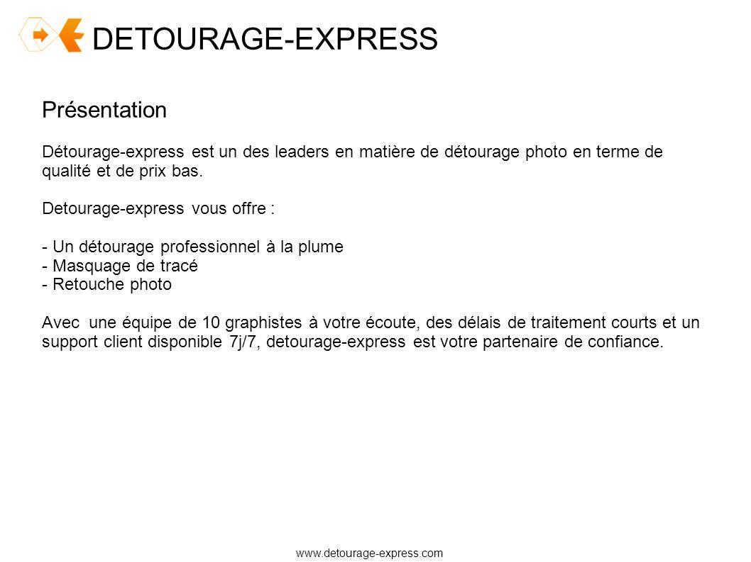 DETOURAGE-EXPRESS www.detourage-express.com Présentation Détourage-express est un des leaders en matière de détourage photo en terme de qualité et de