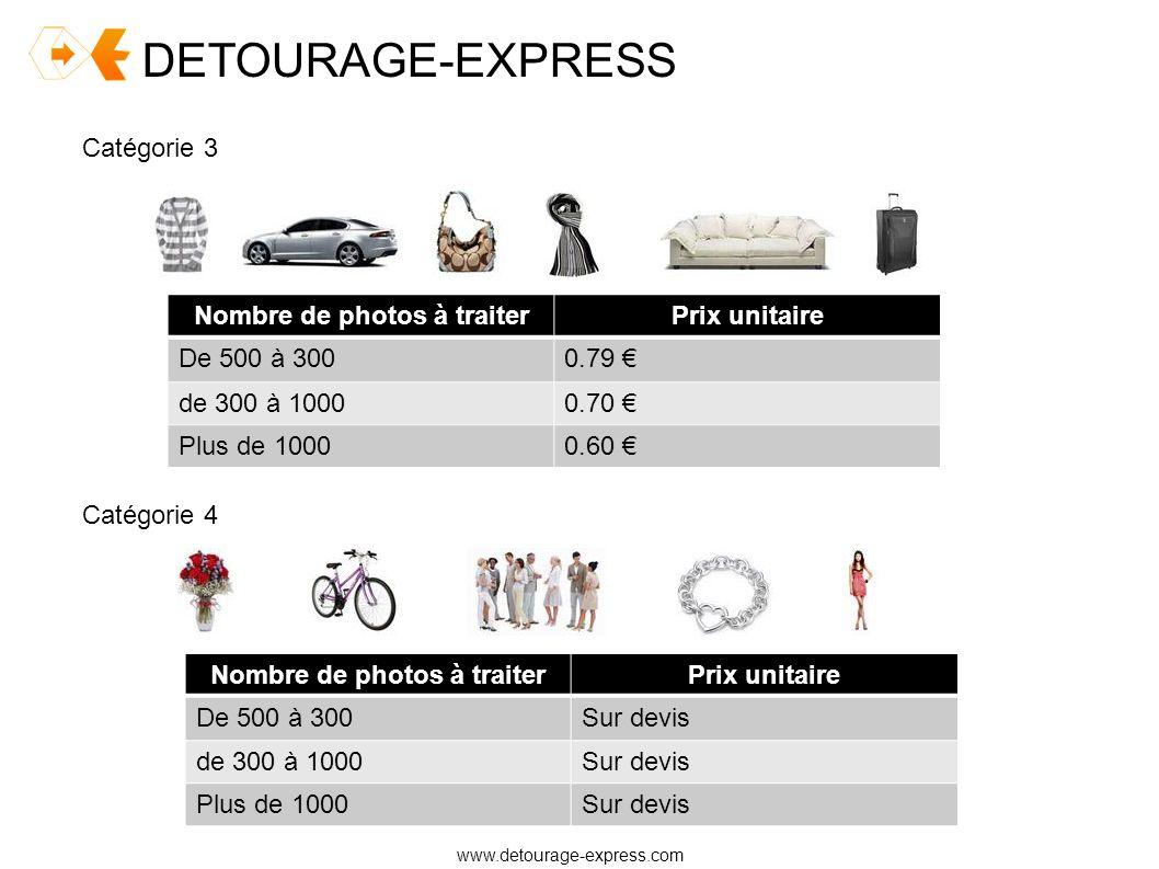DETOURAGE-EXPRESS www.detourage-express.com Catégorie 3 Nombre de photos à traiterPrix unitaire De 500 à 3000.79 de 300 à 10000.70 Plus de 10000.60 Ca