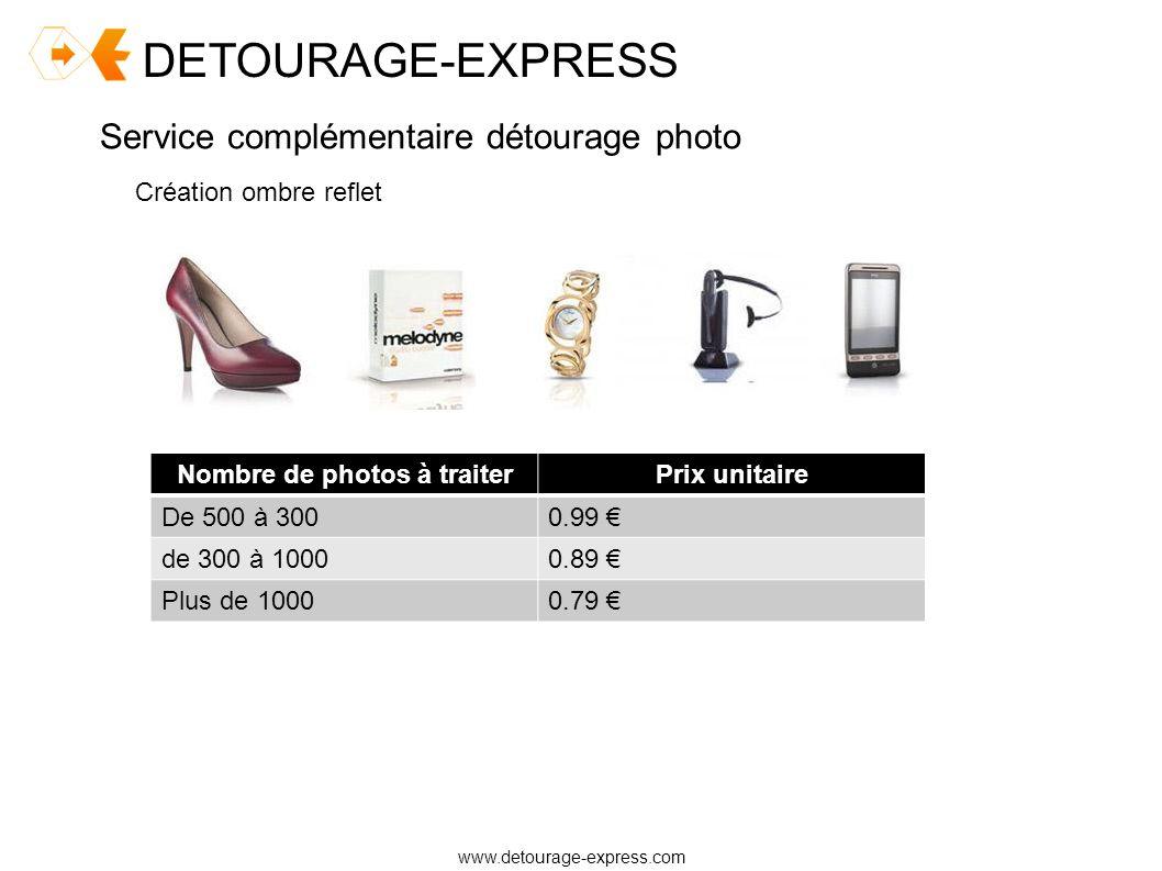 DETOURAGE-EXPRESS www.detourage-express.com Service complémentaire détourage photo Création ombre reflet Nombre de photos à traiterPrix unitaire De 50