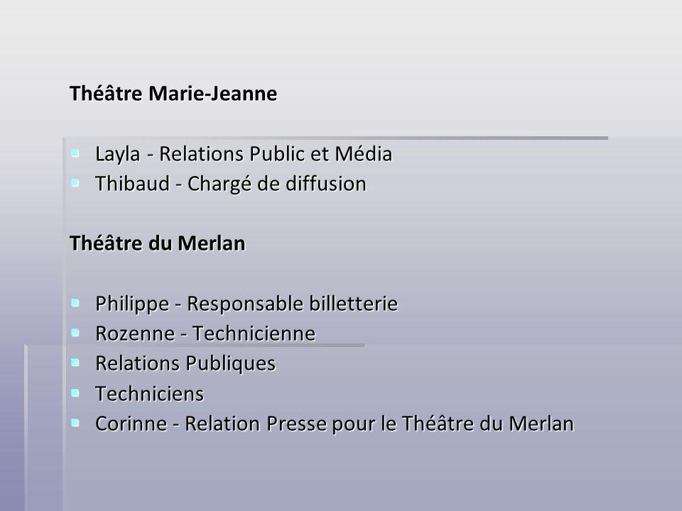 Théâtre Marie-Jeanne Layla - Relations Public et Média Layla - Relations Public et Média Thibaud - Chargé de diffusion Thibaud - Chargé de diffusion T