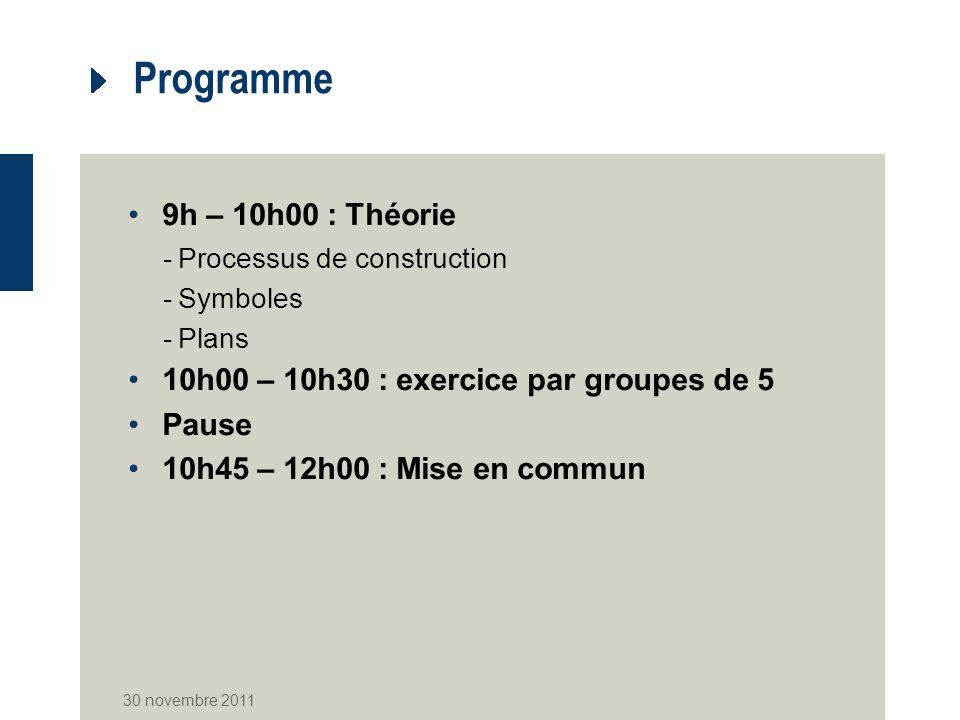 Programme 9h – 10h00 : Théorie -Processus de construction -Symboles -Plans 10h00 – 10h30 : exercice par groupes de 5 Pause 10h45 – 12h00 : Mise en commun 30 novembre 2011