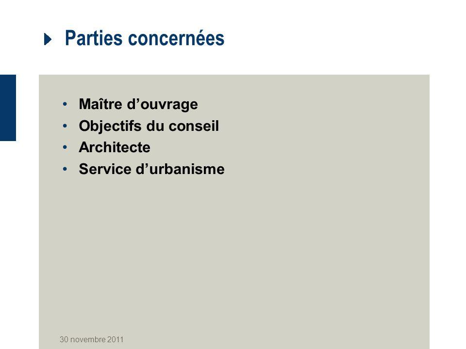 Parties concernées Maître douvrage Objectifs du conseil Architecte Service durbanisme 30 novembre 2011
