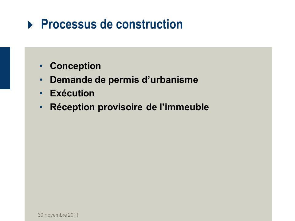 Processus de construction Conception Demande de permis durbanisme Exécution Réception provisoire de limmeuble 30 novembre 2011