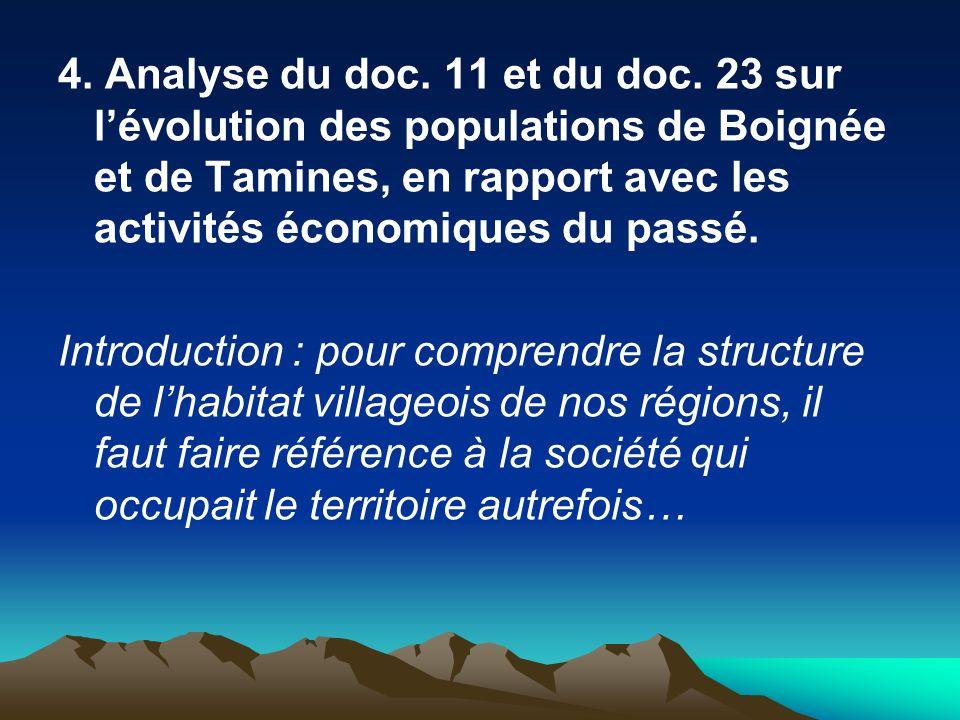 4. Analyse du doc. 11 et du doc. 23 sur lévolution des populations de Boignée et de Tamines, en rapport avec les activités économiques du passé. Intro