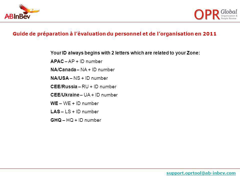 Guide de préparation à lévaluation du personnel et de lorganisation en 2011 support.oprtool@ab-inbev.com Your ID always begins with 2 letters which ar