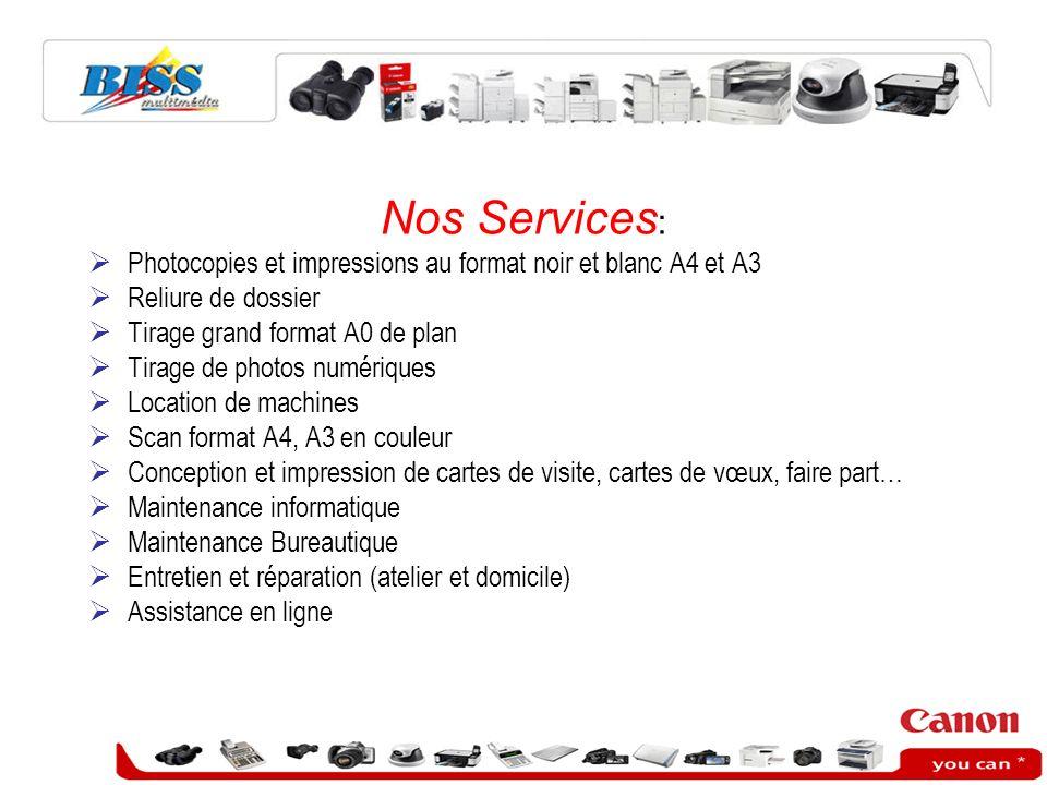 Nos Services : Photocopies et impressions au format noir et blanc A4 et A3 Reliure de dossier Tirage grand format A0 de plan Tirage de photos numériqu