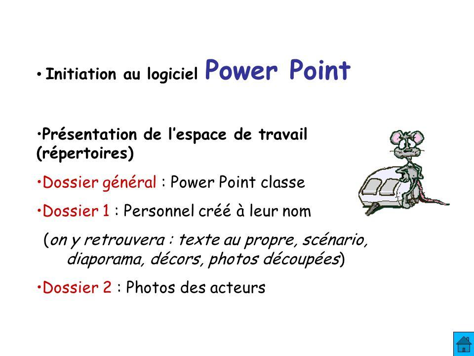 Initiation au logiciel Power Point Présentation de lespace de travail (répertoires) Dossier général : Power Point classe Dossier 1 : Personnel créé à leur nom (on y retrouvera : texte au propre, scénario, diaporama, décors, photos découpées) Dossier 2 : Photos des acteurs