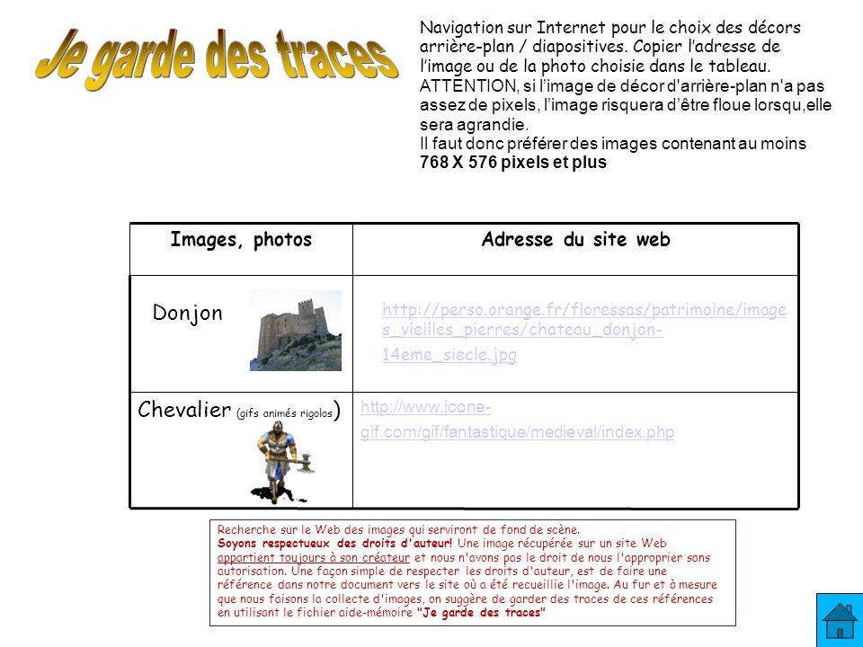 http://perso.orange.fr/floressas/patrimoine/image s_vieilles_pierres/chateau_donjon- 14eme_siecle.jpg Donjon Navigation sur Internet pour le choix des décors arrière-plan / diapositives.