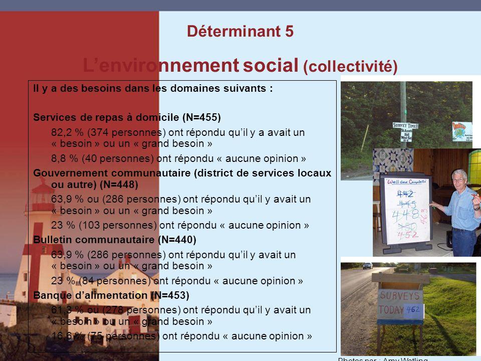 Il y a des besoins dans les domaines suivants : Services de repas à domicile (N=455) 82,2 % (374 personnes) ont répondu quil y a avait un « besoin » ou un « grand besoin » 8,8 % (40 personnes) ont répondu « aucune opinion » Gouvernement communautaire (district de services locaux ou autre) (N=448) 63,9 % ou (286 personnes) ont répondu quil y avait un « besoin » ou un « grand besoin » 23 % (103 personnes) ont répondu « aucune opinion » Bulletin communautaire (N=440) 63,9 % (286 personnes) ont répondu quil y avait un « besoin » ou un « grand besoin » 23 % (84 personnes) ont répondu « aucune opinion » Banque dalimentation (N=453) 61,3 % ou (278 personnes) ont répondu quil y avait un « besoin » ou un « grand besoin » 16,6 % (75 personnes) ont répondu « aucune opinion » Déterminant 5 Lenvironnement social (collectivité) Photos par : Amy Watling
