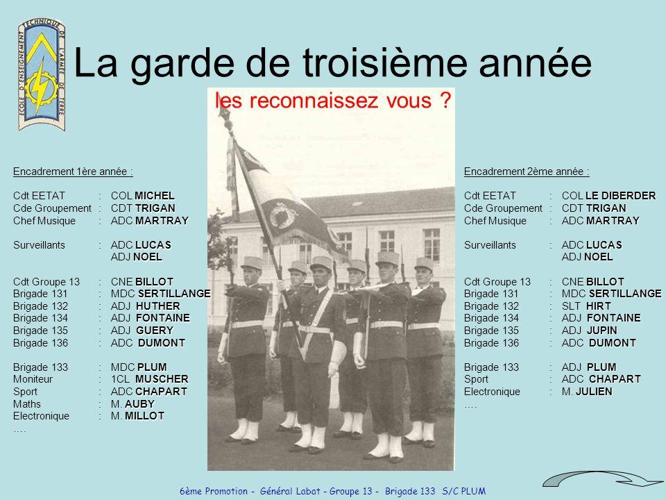 6ème Promotion - Général Labat - Groupe 13 - Brigade 133 S/C PLUM La garde de troisième année les reconnaissez vous ? Encadrement 1ère année : MICHEL