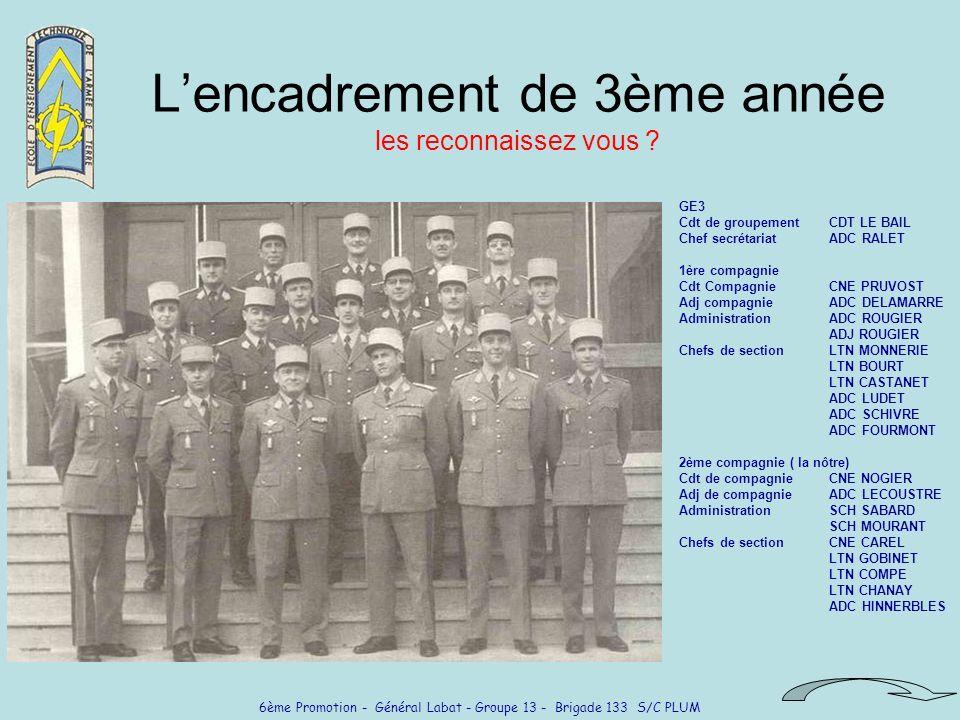 6ème Promotion - Général Labat - Groupe 13 - Brigade 133 S/C PLUM Lencadrement de 3ème année les reconnaissez vous ? GE3 Cdt de groupementCDT LE BAIL