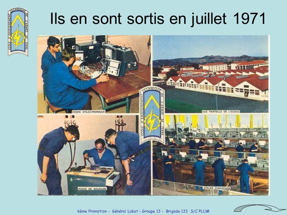 6ème Promotion - Général Labat - Groupe 13 - Brigade 133 S/C PLUM Ils en sont sortis en juillet 1971