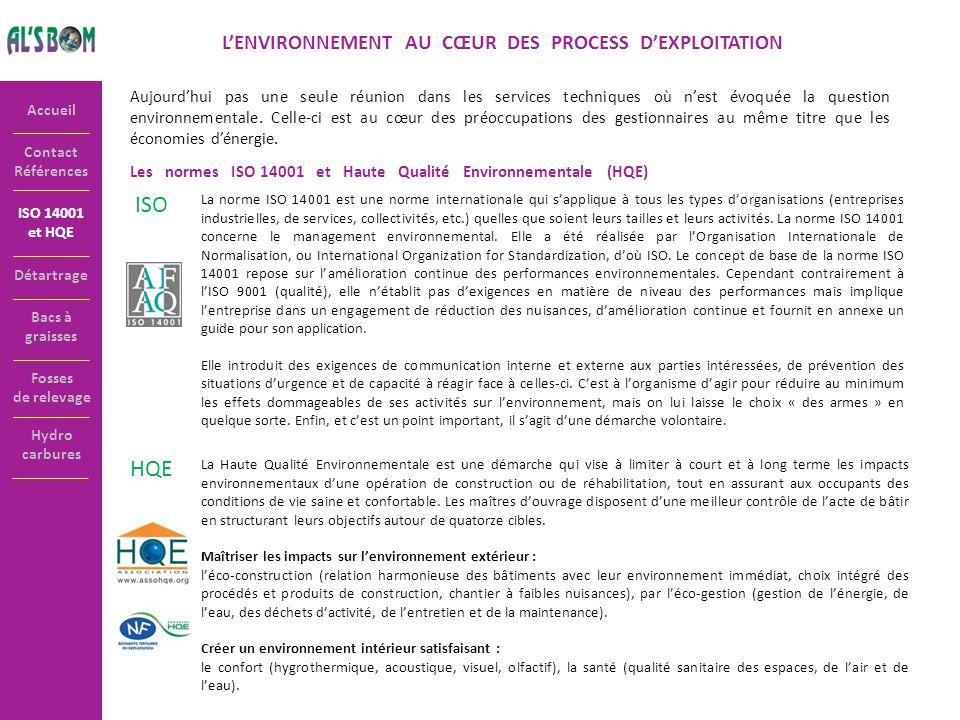 Contact Références Accueil ISO 14001 et HQE LENVIRONNEMENT AU CŒUR DES PROCESS DEXPLOITATION Aujourdhui pas une seule réunion dans les services techni