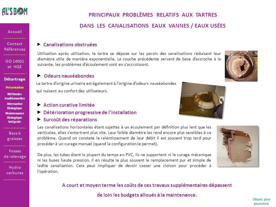 Détartrage Contact Références Accueil ISO 14001 et HQE PRINCIPAUX PROBLÈMES RELATIFS AUX TARTRES DANS LES CANALISATIONS EAUX VANNES / EAUX USÉES Canal