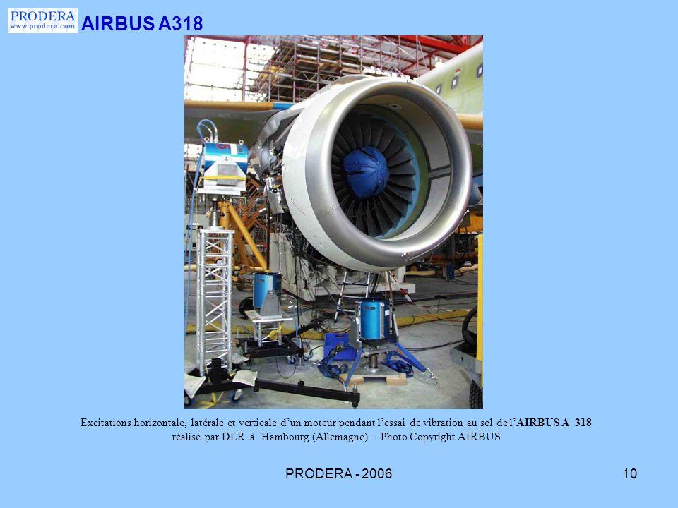 PRODERA - 200610 AIRBUS A318 Excitations horizontale, latérale et verticale dun moteur pendant lessai de vibration au sol de lAIRBUS A 318 réalisé par