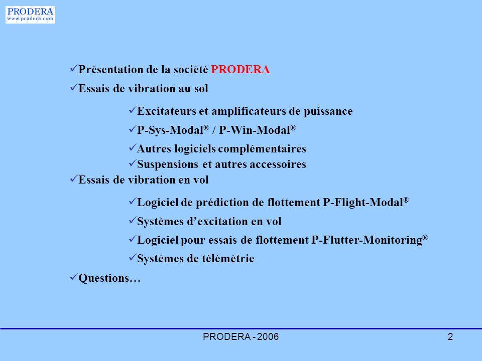 PRODERA - 20063 PRODERA PRODERA est un fournisseur mondialement connu des produits suivants : Equipements pour les essais de vibration en vol Equipements pour les essais de vibration au sol Systèmes sur mesure