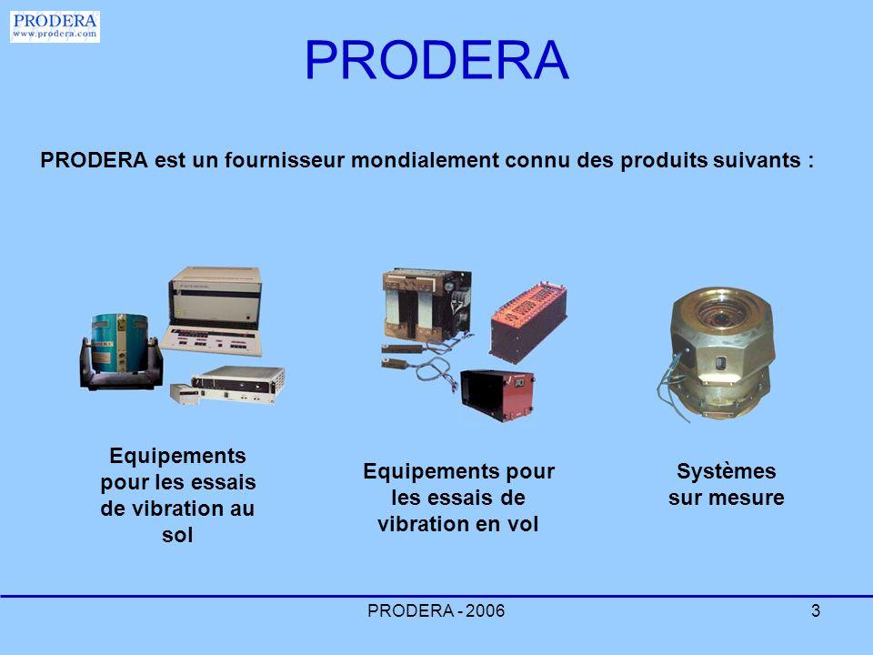 PRODERA - 20063 PRODERA PRODERA est un fournisseur mondialement connu des produits suivants : Equipements pour les essais de vibration en vol Equipeme