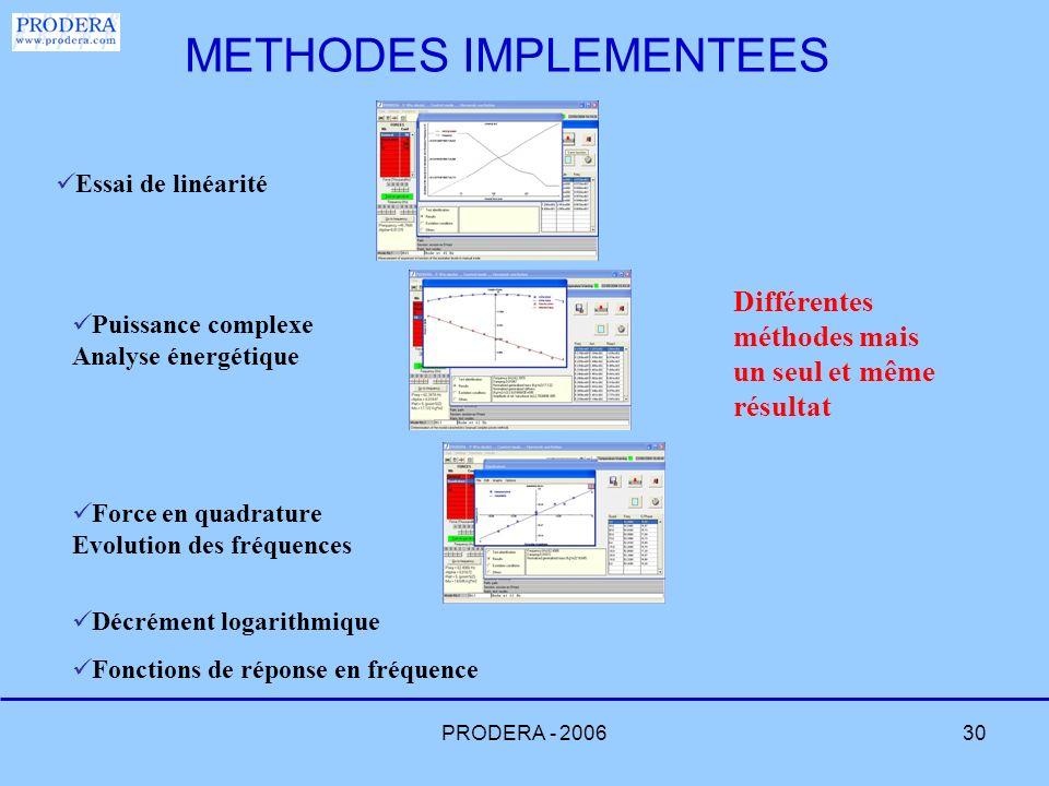 PRODERA - 200630 Essai de linéarité Puissance complexe Analyse énergétique Force en quadrature Evolution des fréquences Décrément logarithmique Foncti