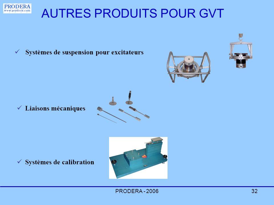 PRODERA - 200632 Systèmes de suspension pour excitateurs Systèmes de calibration AUTRES PRODUITS POUR GVT Liaisons mécaniques