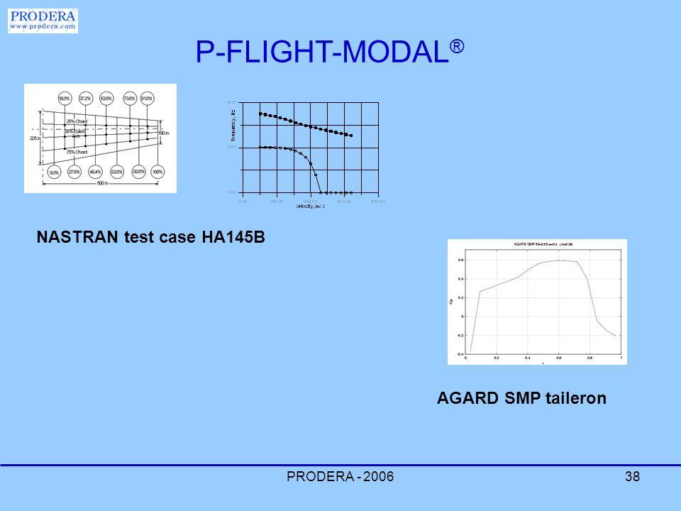 PRODERA - 200638 P-FLIGHT-MODAL ® NASTRAN test case HA145B AGARD SMP taileron